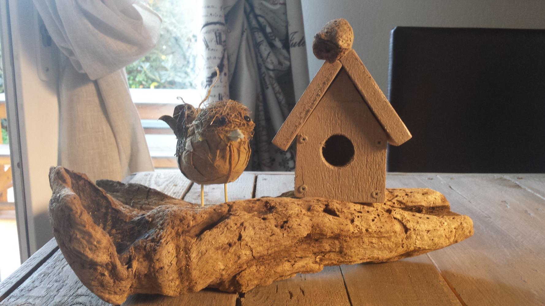 Cabane oiseau d coration en palettes et d coration bois for Decoration exterieur bois flotte