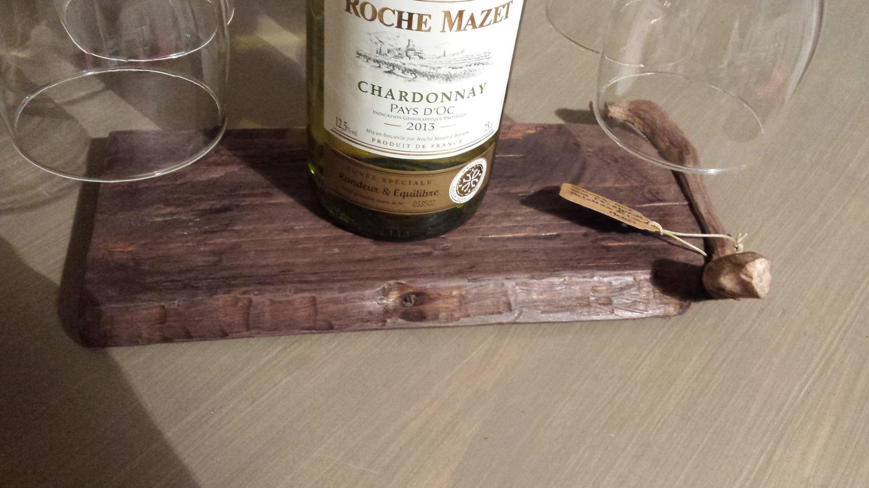 Porte bouteille vin et verres avec planche d couper saucisson palettes co - Planche a decouper saucisson ...