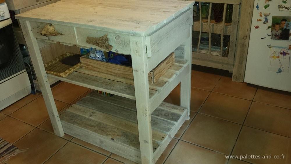Comment fabriquer un lot central de cuisine en palettes - Table de cuisine en palette ...