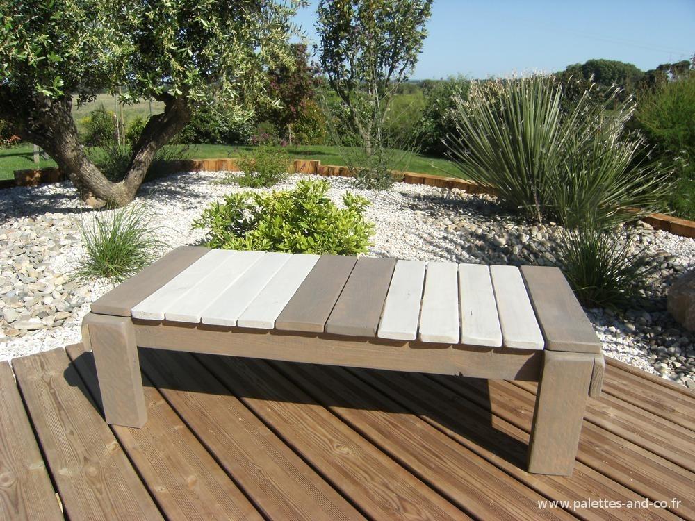 Banquette de jardin en bois massif palettes co for Bois flotte beziers