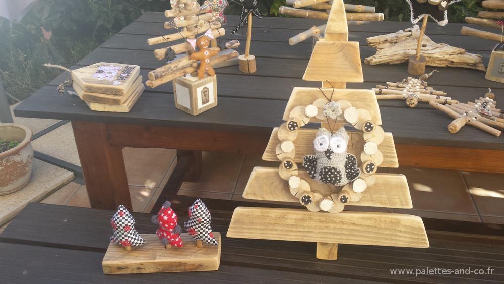 Sapin bois palettes et flott s et d corations no l - Decoration de noel a fabriquer en bois ...