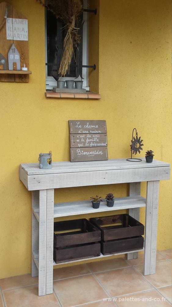 console en bois de palettes meubles palettes and co. Black Bedroom Furniture Sets. Home Design Ideas